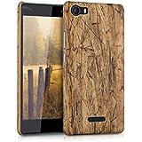 kwmobile Funda Hardcase Diseño madera vintage para Wiko Fever 4G en marrón claro