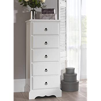d409eedc64fe Romance 5 Drawer Tallboy, Antique White Narrow Chest of drawers, FULLY  ASSEMBLED
