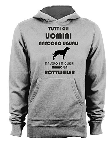 Felpa con cappuccio Tutti gli uomini nascono uguali ma solo i migliori hanno un rottweiler - cani - dog - humor Grigio