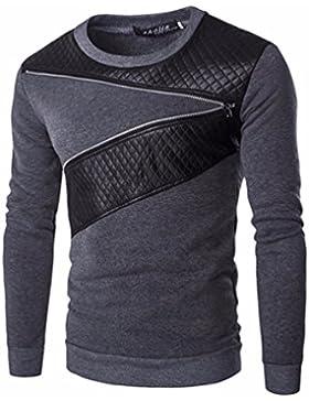 Kit de cuello redondo y suéter enrejados cosido cuero hombres cuello redondo y suéter kit