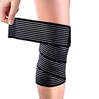 Yosoo Black High elasticity Calf Thigh Support Knee Brace Compression Wrap Support Bandage Brace Guard Injury Pain Sports Pad-Pack of 1