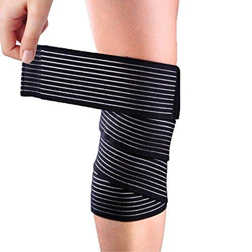 Sportbandage, für Knie, Oberschenkel oder Wade, zur Kompression bei Verletzungen und Schmerzen, schwarz, hohe Elastizität, 1 Stück