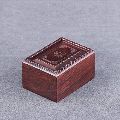 Smaqz retro scatola rossa - piccola scatola di legno della memoria della giada della moneta, contenitore di monili di mogano palissandro rosso 7.5 * 5.5 * 4cm