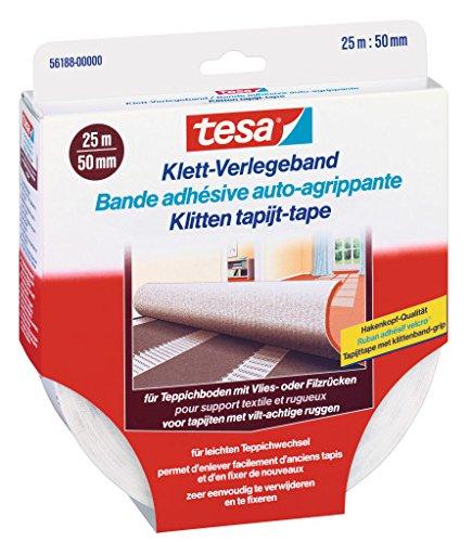 Preisvergleich Produktbild 2 x tesa Klett-Verlegeband für Teppichboden jeweils 25mx50mm / 56188-00000 / Teppichverlegeband / auch für Feuchträume und Fußbodenheizung