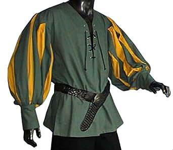 Mittelalter Landsknechthemd grün, Einsätze in gelb, Größe XL