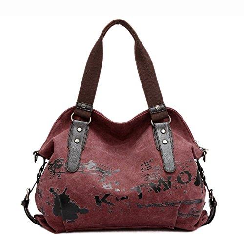 Minetom Donna Hobo Borsa Casual Tela A Tracolla Shopper Borsetta Borse Rosso - Cuore Canvas Tote