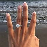 Yesiidor Frauen Mädchen Runde Kristall Zirkon Ring Elegant Exquisite Glitzernde Strass Hochzeit Verlobungsring Jahrestag Geschenk Schmuck Geschenk
