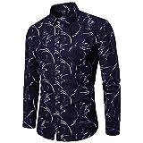 TIFIY Herren Langarmhemd Mode gebrochene Blume Hemden Shirt der Männer Oktoberfest Slim Fit Top (Dunkelblau,EU 50/CN 2XL)