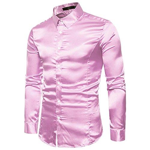 Herrenhemd T-shirt,Dasongff Mode Persönlichkeit Herren Hemden Shirt Slim Langarmshirt Tops Freizeit Hemd Business Hemd Bluse (2XL, Rosa)