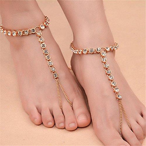 SHIJIAN Frauen Strass Fuß Kette Barfuß Sandalen Schmuck Funkelnde Fußkettchen mit Einstellbarer Zehenring 1 stücke