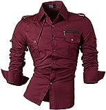 jeansian Uomo Camicie Maniche Lunghe Moda Men Shirts Casuale Cime 8371 WineRed XL
