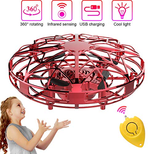 Bdwing Mini Drohne für Kinder & Erwachsene, UFO Spielzeug RC Fliegender Ball mit LED Licht, handbetriebene einfache Indoor Outdoor kleine Kugel Fliegende (rot)