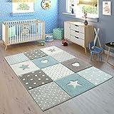 Vloerkleed Kinderkamer Geruit Stippen Harten Sterren In Pastelblauw Grijs, Maat:140x200 cm