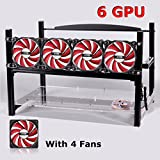 6 GPU Miner Case With 4 Red Fans, Aluminum Stackable Mining Rig Open Air Frame For Ethereum(ETH)/ETC/ ZCash Ethereum,Bitcoin,Cryptocurrency and Altcoins to improve GPU performance and life
