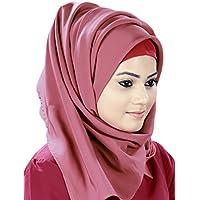 MyBatua elegante Maroon & Dusty Rose Pink Splendido Jannah Hijab e Banda HJ-028