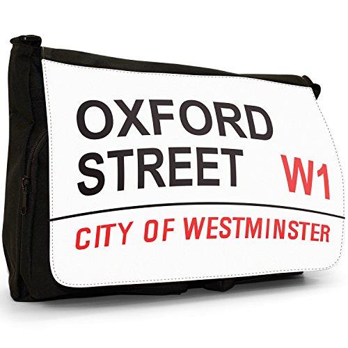 Attrazioni Famose Di Londra Street Sign–Borsa Tracolla Tela Nera Grande Scuola/Borsa Per Laptop Oxford Street W1 Westminster Descuento Barato Auténtica 28nt6ejMgm