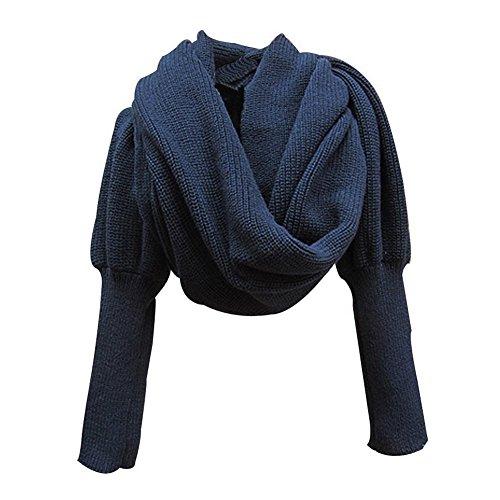 Stofirst Mode Herbst Winter Warm Häkeln Stricken Einfarbig Wrap Schal Shawl Cape mit Ärmeln Für Damen Herren (Pullover Knit Wrap)
