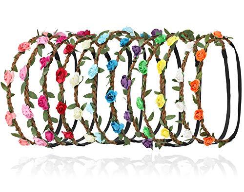 Sumolux Damen 12 Stück Boho Stil Blumen Stirnband für Mädchen/Baby Blumenmädchen Brautjungfern Braut Festival Partei Hochzeit Stirnbänder (Rekord-pakete)