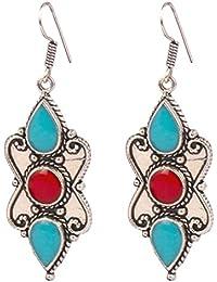 [Sponsored]Sansar India Green Red Round Silver Plated Tibetan Earrings