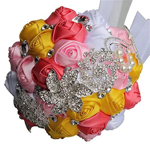 Cvbndfe Fiori Della Holding Della Sposa Multi Couleur Romantique mariée Mariage Tenue Bouquet de Fleurs de Mariage Perle Ruban Ruban de Mariage Fleur Réutilisable (Couleur : Yellow+Pink+Red)