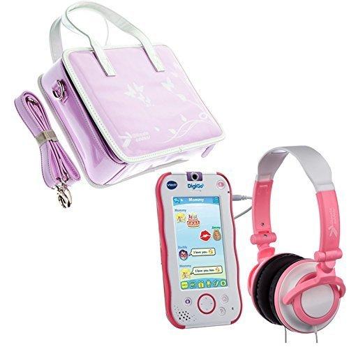 Preisvergleich Produktbild fürUltimateaddons Mädchen Reise Kulturtasche Aufbewahrung mit Kopfhörer Paket Passend Zu VTech digigo Childs Tablet - Rosa, Violet