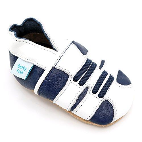 Dotty Fish weiche Leder Babyschuhe mit rutschfesten Wildledersohlen. Kleinkind Schuhe. Marine und weißer sportlicher Schuh. Mädchen und Jungen. 18-24 Monate