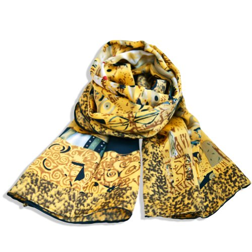Elegant 100% Seide Seidenschal Schals Kunstdruck Gustav Klimt- Adele Bloch-Bauer (Clutch Adele)