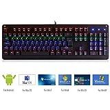 E-YOOSO Gaming Tastatur QWERTZ mechanische Keyboard mit LED Hintergrundbeleuchtung Blue Switch Deutsches Tastaturlayout für IOS, Android,WinXP/Win7/Win8/Win10