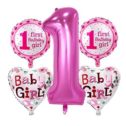 Nette Folienballons für Baby Erster Geburtstag Party Dekoration - Mädchen Rosa (Erster Geburtstag Party Dekorationen)