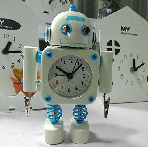 PINCHU Kreative Roboter Studenten Wecker Nette Karikatur Nachtlicht Quarzuhr Für Kinder Candy Farben Desktop Tischuhr,E1