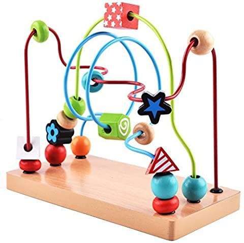 Bead Maze Toy - Chickwin Babies Toddlers Multicolor Wooden Puzzle Toys Large Color Printing Circle Bead Maze Roller Coaster Educational Early Learning Toys for Kids