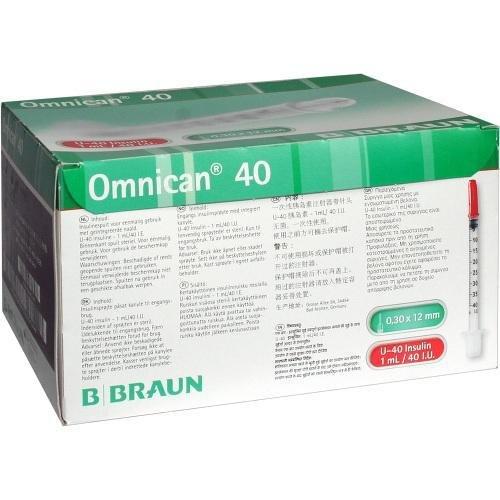 Omnican Insulinspr.1 Ml U40 M.Kan.0,30X12 mm, 100 St