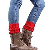 Fami Femmes d'hiver tricotées Jambières Chaussettes Boot Cover (Rouge)