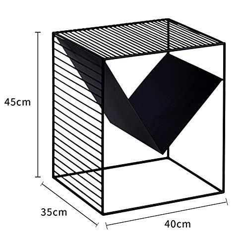 FEI Table d'appoint, table d'appoint moderne avec étagère de rangement Petite étagère de rangement carrée Table d'appoint Table de chevet Table de chevet Noir-Blanc (Couleur : NOIR)