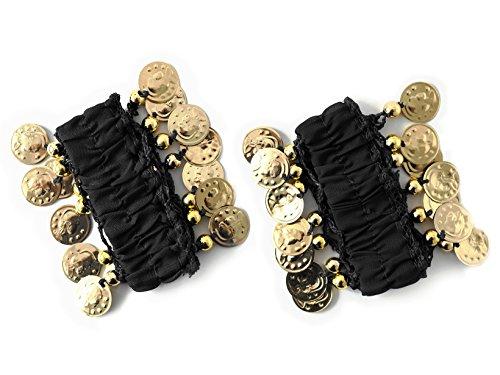 Schmuck Bauchtanz Kostüm - Belly Dance Handkette Armband Handschmuck Fasching Tanzen Bauchtanzen Handgelenk Manschette Verkleidung Armbänder mit goldfarbenen Münzen (Paar) in schwarz NEU