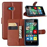 Tasche für Microsoft Lumia 640 Dual-SIM Hülle, Ycloud PU Ledertasche Flip Cover Wallet Case Handyhülle mit Stand Function Credit Card Slots Bookstyle Purse Design braun