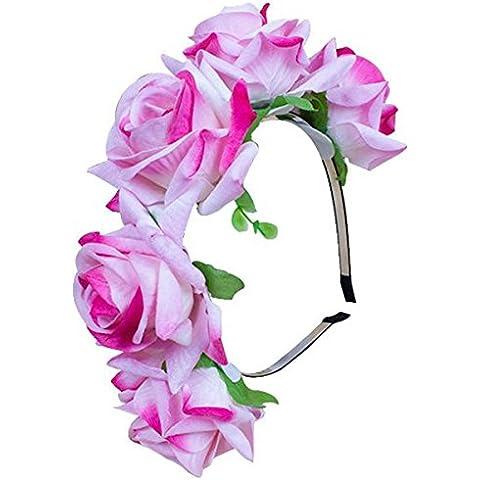 TININNA Artificiale Fiori Cerchietto Cerchietti,Corona Floreale Ghirlande di fiori Capelli Elegante con il Nastro per Matrimonio Festa Fotografia ect.-rosa - Rosa Magnete Nastro Rosa
