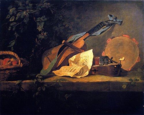 OdsanArt 30,48 cm x 25,4 cm de style ballerini persone 'strumenti musicali e cesto di frutta' da Jean-Baptiste-Simeon Arte stampe di Chardin fine di alta qualità su tela