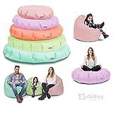 Sitzsack BuBiBag 2-in-1 Funktionen mit Füllung Pastellfarben Sitzkissen Bodenkissen Kissen