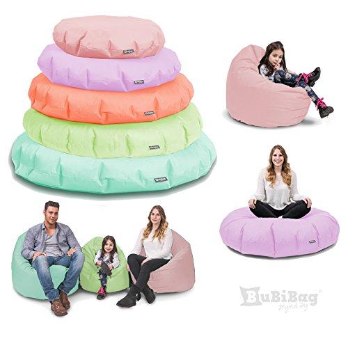 Sitzsack BuBiBag 2-in-1 Funktionen mit Füllung Pastellfarben Sitzkissen Bodenkissen Kissen Sessel BeanBag (85cm, puderrosa)