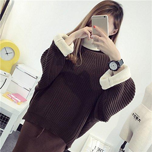 Smile YKK Pull Col Roulé Femme Tricoté Sweat-shirt Manches Longues Sweat Automne Hiver Mode Café Foncé
