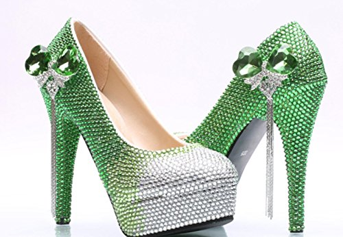 Xdgg Chaussures De Mariage Grande Taille Vert Dégradé Papillon Romantique Chaussures Vert11
