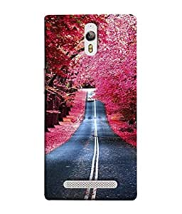 PrintVisa Designer Back Case Cover for Oppo Find 7 :: Oppo Find 7 QHD :: Oppo Find 7a :: Oppo Find 7 FullHD :: Oppo Find 7 FHD (Painting Scenery Tree Lined Roads)
