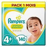 Pampers - Protección Premium - Pañales Tamaño 4+ (10-15 ) - Paquete de 1 mes (x140 pañales)