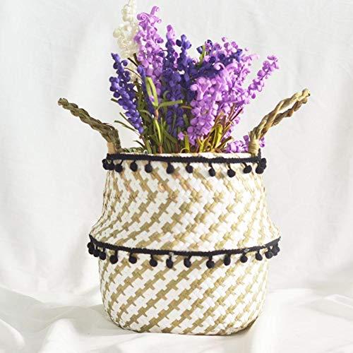 iBaste Aufbewahrungskorb aus Seegras Korb mit Griff Blumentöpfe Geflochten Faltbar Aufbewahrungskorb für Spielzeug Wäsche Lagerung Nordischer Stil