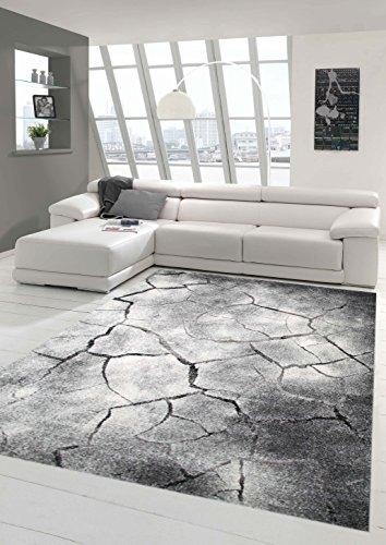 Traum Teppich Designerteppich Moderner Teppich Steinoptik Wohnzimmerteppich Öko-Tex in Grau Schwarz, Größe 120x170 cm