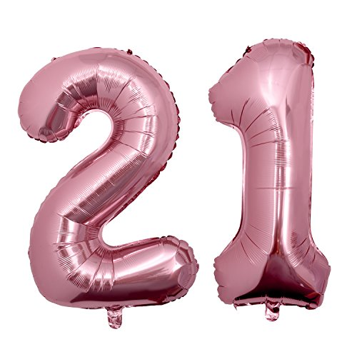 21 RoseGold, 40 Zoll Helium Folie Ballons 21 Geburtstag Deko Set Riesen Folienballon Fur Party ()