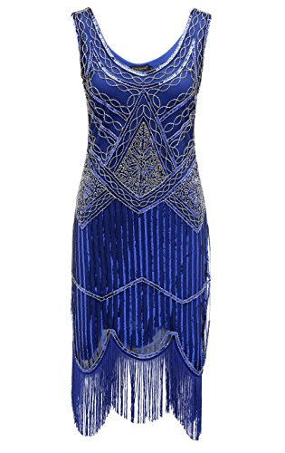 Rot Größe Plus Kleid Flapper (BABEYOND Frauen Art Deco V-Ausschnitt 20s Gatsby Fringed Sequin Flapper Kleid (Etikette XL/ UK18/ EU46,)