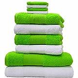 Liness 10 tlg Handtücher Set grün weiß 4 Handtücher 50x100 cm 2 Duschtücher Badetücher 70x140 cm 4 Waschhandschuhe Waschlappen Handtuch Duschtuch 100% Baumwolle Handtuch-Set weiss grün apfelgrün