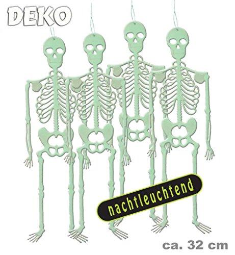 Irland Scarface Kostüm (Dekoskelett, nachtleuchtend, Größe ca.32 cm, 4 Stück Packung, Ideal für Halloween,)
